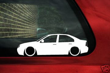 2x LOW Vw Bora / Jetta Mk4, v6 4 motion, TDI, 1.8t,20v Turbo, outline ,Silhouette,stickers / Decals.